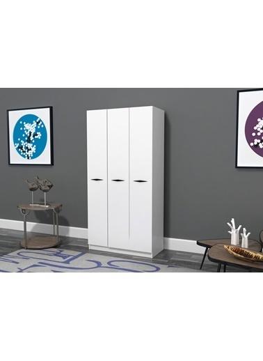 Sanal Mobilya Haıtı Dolap 3 Kapaklı Aynasız Dolap Beyaz